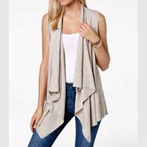 Style & Co Tan Waterfall Open Front Sweater Vest